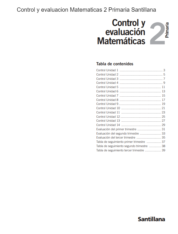 Control Y Evaluacion Matematicas 2 Primaria Santillana