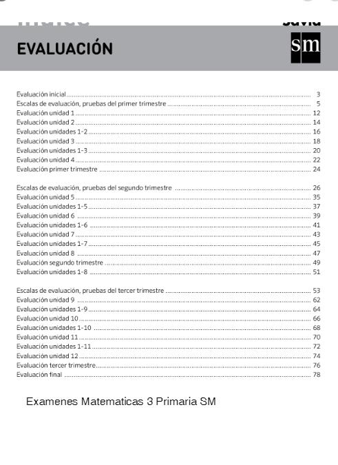 Examenes Matematicas 3 Primaria SM