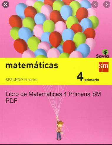 Libro De Matematicas 4 Primaria Sm Pdf Descargar