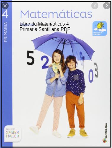 Libro De Matematicas 4 Primaria Santillana Pdf Descargar