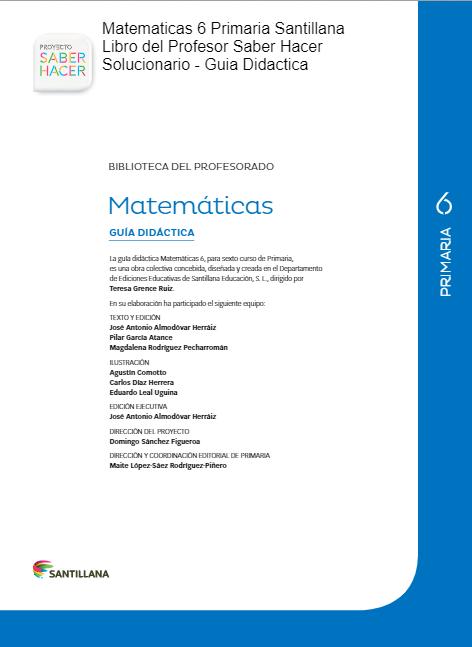 Libro Del Profesor Matematicas 6 Primaria Santillana Saber Hacer