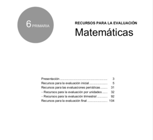 recursos para la evaluacion matematicas 6 primaria santillana pdf